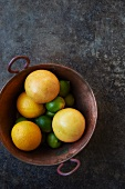 Oranges and Limes in a Copper Pot; From Above