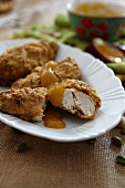 Chicken breast with a pistachio crust and apricot sauce