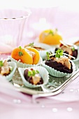 Fruit stuffed with goose liver
