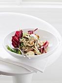 Mushroom salad with red endive