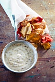 Mustard dip with vegetable crisps
