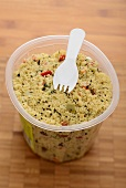 Tabbouleh in a plastic pot to eat on the go