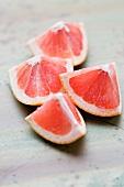 Pink grapefruit quarters