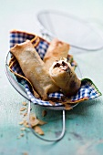 Nems (spring rolls) with bananas and chocolate