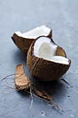 A coconut, broken open