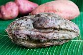 Sweet potatoes on a banana leaf