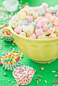 Colourful mini marshmallows, sugar sprinkles and sugar balls