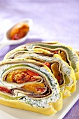 Pasta roulade with ricotta and vegetables