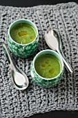 Spinach soup with rosemary oil