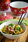 Chinese noodle salad with duck breast