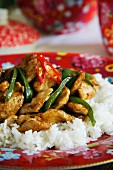 Chicken with vegetables on a bed of rice