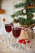 Red wine punch with star anise for Christmas
