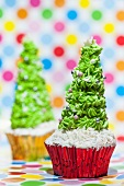 Two Christmas tree cupcakes