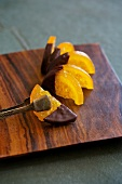Candied oranges dipped in chocolate