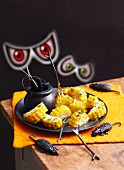 Grilled corn cobs for Halloween