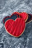 Red and black heart-shaped biscuits
