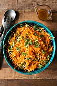 Carrot salad with coriander and sesame seeds
