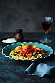 Pappardelle with peppers and salsiccia (Italian sausage)