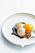 Buchu and rooibos-tea ice cream, and cardamom crumble with peaches