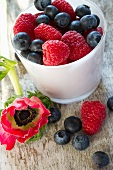 Fresh berries in a mug
