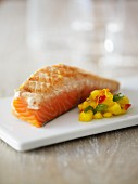 Seared salmon fillet with mango salsa