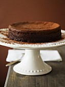 A chocolate cake dusted with cocoa powder