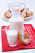 Milk and Bulgarian doughnuts