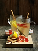 Apple tea with cinnamon sticks