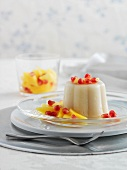 Semolina pudding with fruit salad