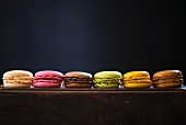 Several different macaroons in a row
