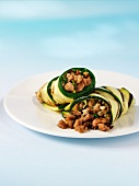 Strips of courgette wrapped around turkey mince