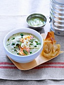 Pea soup with mint and poached salmon