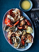 Barbecued lobster with melted butter and lemon