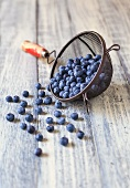 Fresh Blueberries Spilling From an Old Strainer onto a Wooden Table