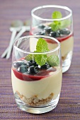 Cream cheese mousse with blueberries and mint