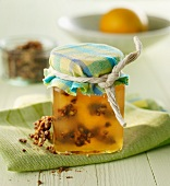 Pineapple jam with chunks of almond brittle
