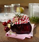 Cherry and rosemary jam