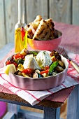 Ratatouille, cooked on the barbecue and served with buffalo mozzarella