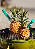 Pineapples infused with vodka, on the barbecue