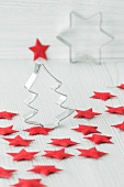 Christmas decorations, with cutters and red felt stars