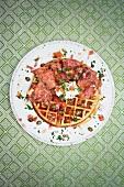 Smoked Salmon Waffle with Sour Cream and Salsa