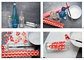 Craft instructions for sticking decorative paper to a bottle