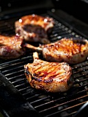 Pork chops on barbecue