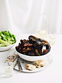 Mussels in red wine with a cucumber and mint salad