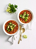 Sweetcorn soup with avocado and coriander