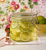 Pineapple and limes preserved in rum and sugar