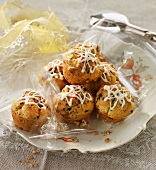 Mini chocolate chip muffins with sugar glaze
