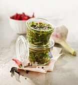 Spicy parsley sauce in preserving jars
