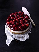 Yoghurt layer cake with raspberries