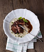 Calf's cheeks with risotto